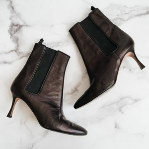 Manolo Blahnik Boots Leather Ankle Black Brown